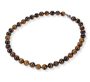 10.5 mm Round Tiger Eye Strand Necklace -nk-te2
