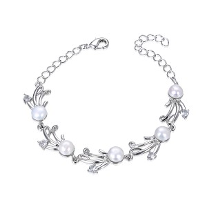 Freshwater Pearl White Gold Plated Diamond CZ Bracelet - br30