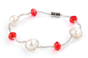Freshwater White Pearl Crystal Fashion Bracelet -br37