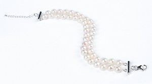 Double Row 7 mm AAA- White Akoya Cultured Pearl Bracelet 925 silver clasp -br7