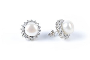 White Freshwater Pearl Crystal Stud Earrings various colors -er143