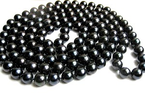 "52"" Long 10.5 mm AAA- Black Freshwater Pearl Rope Strand -nk290"