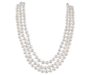Three Row 7.5 mm AA+ Freshwater White Pearl Necklace -nk140