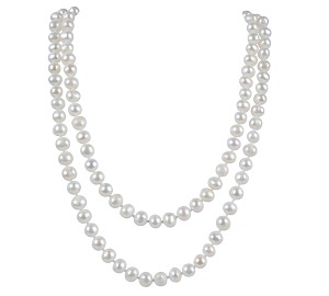 "34""  AA+ 7.5mm White Freshwater Pearl Strand Opera Necklace -nk141"
