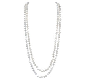 "54"" 7.5mm AA+ White Freshwater Rope Pearl Necklace -nk144"