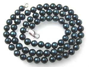 6mm AAA- Blue Overtone Black Saltwater Cultured Akoya Pearl Necklace Sku#: nk152