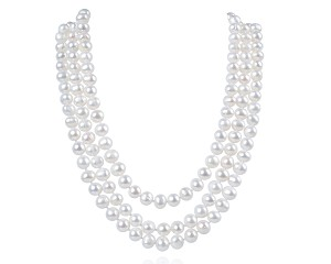 Three Strand 8 mm Freshwater White Pearl Necklace -nk165