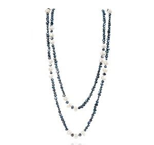 "55"" White Black Baroque Pearl Strand Endless Necklace -nk180"