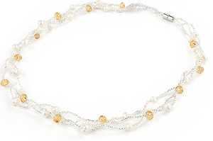 Triple Strand Twisted Crystal Pearl Floating Necklace -nk181