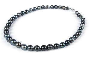 Genuine 10.7 mm AA- Natural Black Tahitian Pearl Strand Necklace -nk206