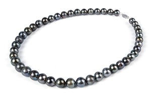 10.7 mm AA- Natural Tahitian Pearl Strand Necklace -nk209