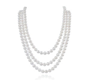 3 Strand AAA- White Cultured Akoya Pearl Necklace -nk254