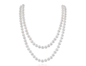"34"" AAA- 7.5mm White Saltwater Cultured Akoya Pearl Strand Opera Necklace  Sku#: nk124"