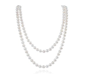"34"" AAA 7mm White Saltwater Cultured Akoya Pearl Strand Opera Endless Necklace  Sku#: nk267"