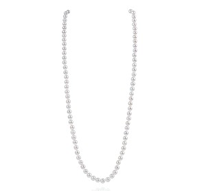 "26"" AAA- 7mm White Akoya Pearl Matinee Necklace -nk268"