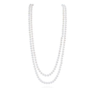 "52"" AAA 7mm White Saltwater Cultured Akoya Pearl Strand Rope Endless Necklace  Sku#: nk270"