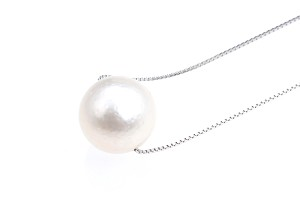Huge 13 - 14 mm AA- White South Sea Pearl Solitaire Necklace 925 silver chain - nk279
