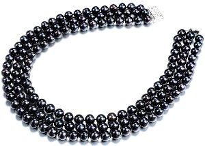 Three Strand 9.5 mm AAA- Lustrous Pure Black Freshwater Pearl Necklace -nk282