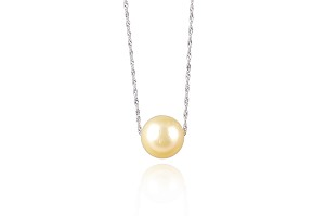 10.3mm AA Light Yellow South Sea Pearl Solitaire Necklace -nk61