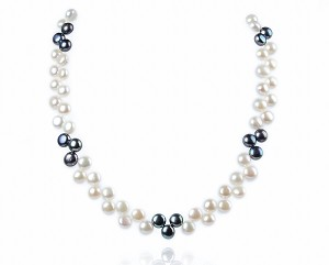Double Row AAA- Wired Black/White Button Pearl Necklace Sku#: nk66