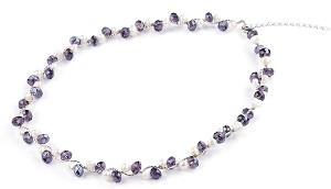 Purple crystal White Freshwater Irregular Shape Pearl Necklace -nk80