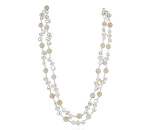Two Strand Crystal White Freshwater Pearl Necklace -nk81