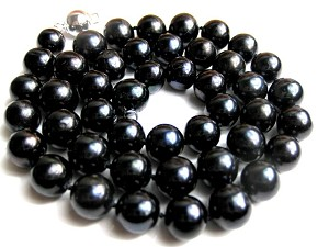 9.5 mm AAA- Lustrous Deep Black Freshwater Pearl Necklace -nk9