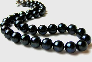 10.5 mm AAA Lustrous Deep Black Freshwater Pearl Necklace 14K gold -nk284
