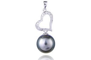 11.2mm AAA+ Black Tahitian Pearl Pendant With Diamonds -pn10