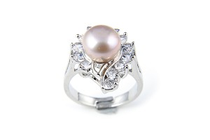 10mm AAA Lavender Freshwater Cultured Pearl Diamond Cubic Zircon Ring - Various sizes -rg46