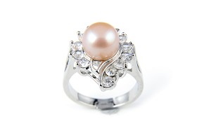 10mm AAA Pink Freshwater Cultured Pearl Crystal Ring - Various sizes -rg47