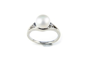 9mm AAA White Freshwater Cultured Pearl Diamond CZ Ring - Various sizes -rg49