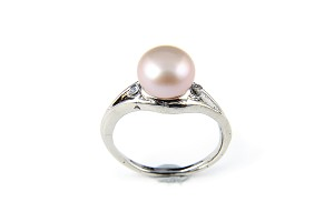 9mm AAA Lavender Freshwater Cultured Pearl Diamond CZ Ring - Various sizes -rg50