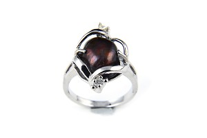 12 mm Black Freshwater Baroque Pearl Crystal Ring - Various sizes -rg59