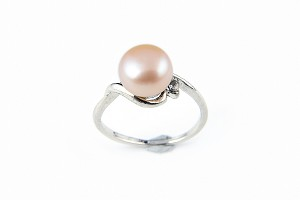 9mm AAA Pink Freshwater Cultured Pearl Ring - Various sizes -rg60