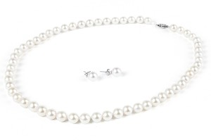 7.5mm AAA+ Gem Quality White Akoya Pearl Necklace Earring Set -ne7