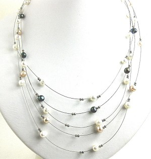 Multi-Color Illusion Pearl Necklace -nk150