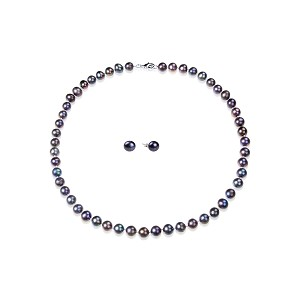 8.5mm Pink Overtone Black Freshwater Pearl Necklace Earring Set -ne17